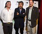 Diego Moreno, director de Vida Silvestre, junto a Ricardo Darín y Juan María Raggio, productor del documental.