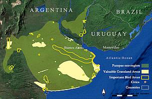 © Ubicación de los pastizales del Río de la Plata